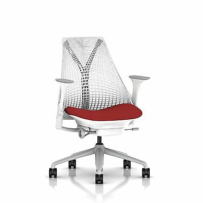 SAYL Chair by Herman Miller - Basic - White, Fog Arms & Tomato Seat