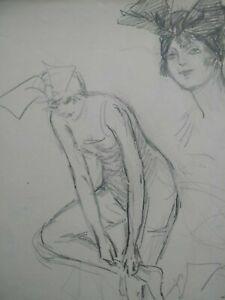 Dessin original mode Paris Art Déco 1920 croquis étude femme fusain