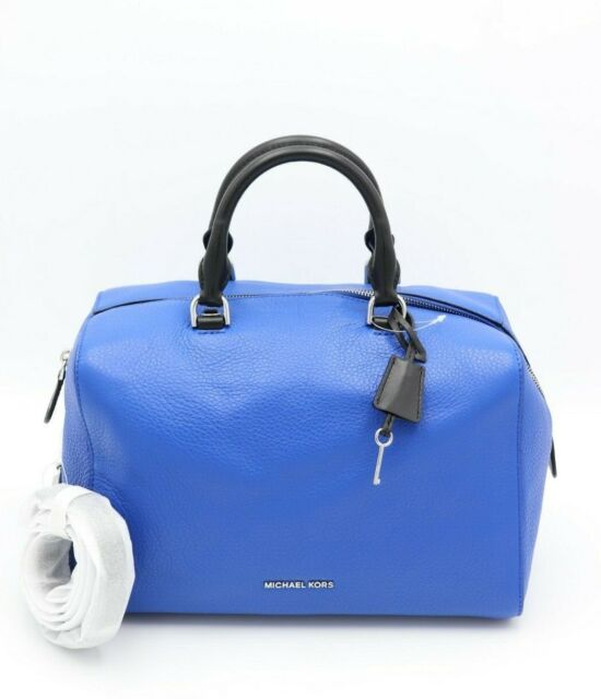 7ae83bd71798 NWT MICHAEL Michael Kors Kirby Blue Black Leather Large Satchel Convertible  Bag