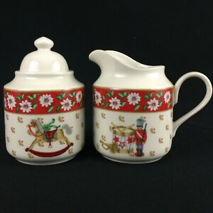 VTG-Sugar-Bowl-and-Creamer-by-Kobe-CHARLTON-HALL-Christmas-White-Floral-Japan