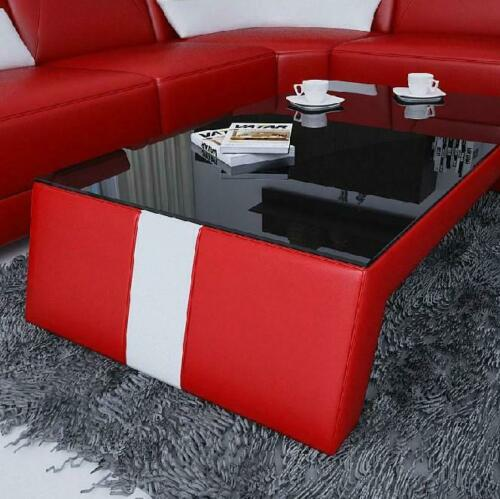 Moderne Salon Table Basse Table Beistell Verre Rembourrage Cuir Tableaux Design