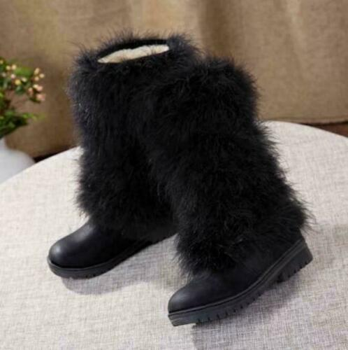 Hot Womens Snow Fur Furry Winter Warm Ankle//Mid calf Boots Casual Shoes Size New