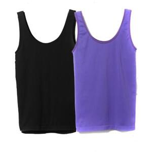 98369dd581 Rhonda Shear Seamless Tank with Shelf Bra 2-pack in Purple Black