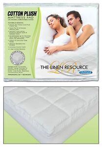 The Linen Resource Cotton Plush Deluxe Waterbed Mattress Pad Queen