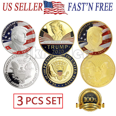 6 Donald Trump President USA Collectable Challenge Coins New In Case