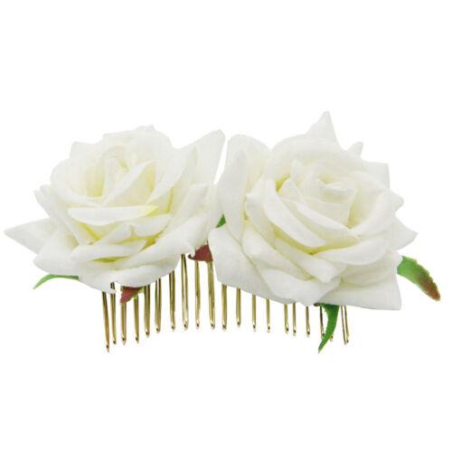 Bridal Boho Rose Flower Hair Comb Clip Hairpin Wedding Party Hair Accessories