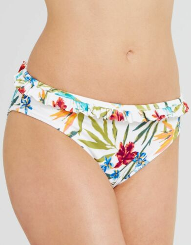 Lepel Tropical Fever Frill Bikini Brief 1335700 White Red Floral Sizes 8 10 NEW
