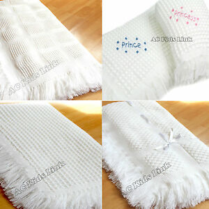 New-Beautiful-White-Baby-Shawl-with-Fringe-Boys-Girls-Unisex-Choice-of-Design