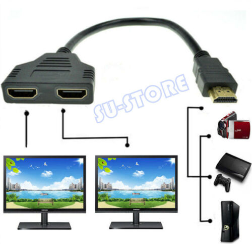 1080P HDMI Port Male to 2 Female 1 In 2 Out Splitter Cable Adapter Converter SU