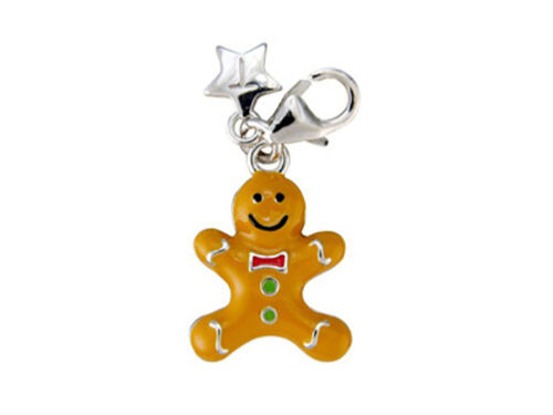 Plata Esterlina Tingle Gingerbread Man Clip En Encanto De Regalo Con Caja Y Bolsa sch86