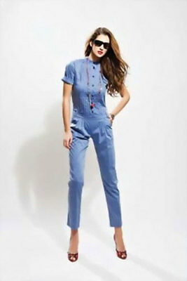 Sea Shell Damenoverall Jumpsuit Overall Chinohose Blau Damenbluse 42 Xl