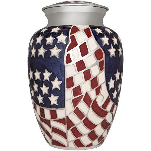 Funeral Urn  Human Ashes Hand Made Brass Enameled Display Burial American Hero