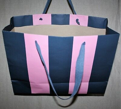 "JACK WILLS Gift Bag LARGE Pink/Navy Stripe Carrier Navy-Cloth-Handles 16.5""x12"""