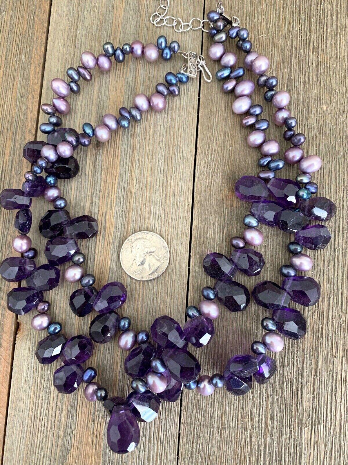 Necklace Amethyst Pearls Cluster Diana Venezia Ra… - image 10