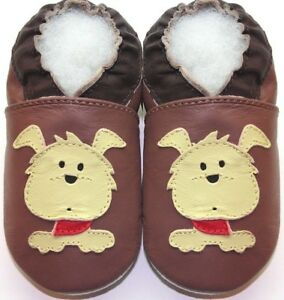 Minishoezoo-dog-tan-18-24-m-soft-sole-baby-leather-slippers-indoor-free-ship