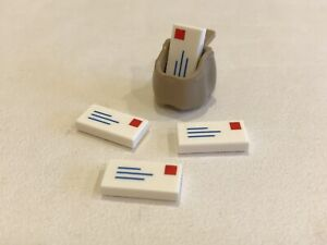 LEGO 8 Letters Mail Post Tiles and 2 Sacks Bags for Minifigures