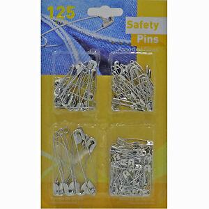 125-SilverMetal-Spille-Di-Sicurezza-Formati-Assortiti-Cucito-Costume-Artigianato
