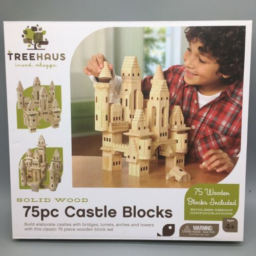 75pc Treehaus Castle Wooden Blocks Bridges Turrets Arches Tower Wood Shoppe NEW