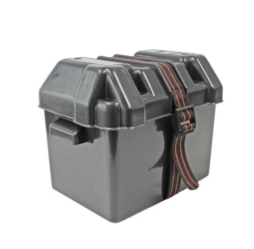 Batteriebox Batteriekasten Gr M schwarz mit Gurtband Batterie Kasten Box