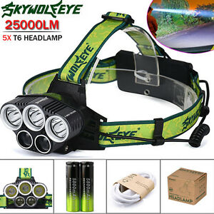 25000LM-5X-XML-T6-LED-Rechargeable-18650-USB-Headlamp-Headlight-Head-Light-Torch