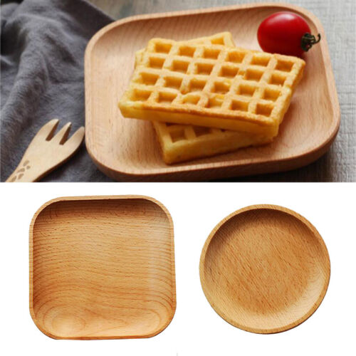 2Pcs Serving Tray Wooden Breakfast Plate Dinner Dinnerware Dish,Round//Square