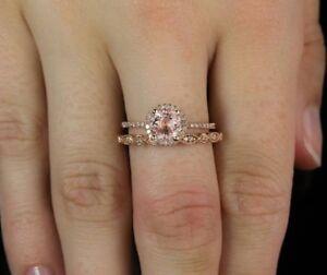 Fashion Women Morganite Rose Gold Filled Wedding Ring Set Size 6 7 8