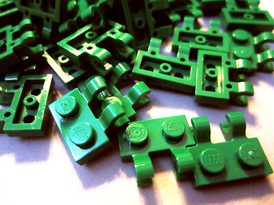 10x LEGO Plate Carrier 1x2 Green CLIPS HINGE 7733 20015 4520671 60470
