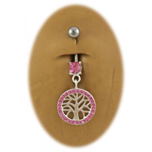 7 Couleurs Disponibles Piercing nombril arbre de vie cristal argent 925