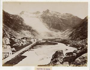 Suisse-Rhonegletscher-canton-du-Valais-vue-sur-le-glacier-Vintage-albumen-pr