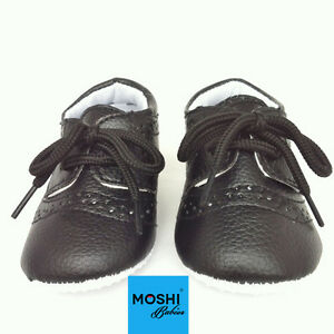 Baby-brogues-black-Soft-Pram-Cot-Wedding-Christening-Suit-Shoes-by-Moshi-Babies