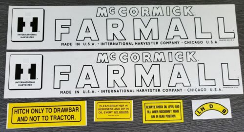 Complete Decal Set For Tractor IH McCORMICK FARMALL Circle CUB