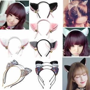 Fashion-Women-Rhinestone-Cute-Cat-Kitty-Ears-Headband-Hair-Band-Cosplay-Party