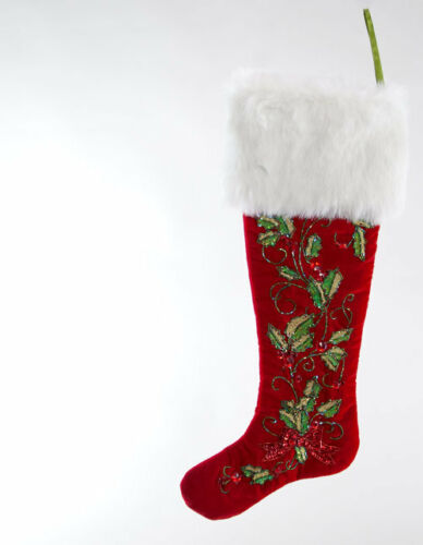 """Katherine/'s Collection Red Holly Scroll Stocking 23/"""" 14-814259"""