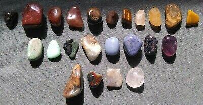 "Prasiolite, Aquamarine... Chakra 1-3//16/"" 17 Tumbled Gemstones Set 3//4/"""
