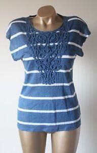 Laura-Ashley-100-Linen-Blue-White-Stripe-Crochet-Detail-Relaxed-Tshirt-Top-10