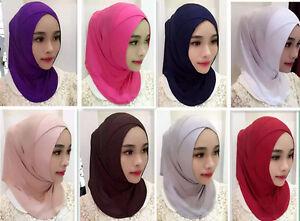 Women Muslim Hijab Islam Cotton Crossover Headscarf Inner hat Cap Scarf Shawls
