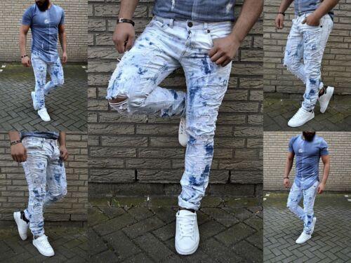 Fashion UK STYLE Rocker BIKER Destroyed Stone Washed Herren WILD Jeans Hose