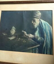 Famous painting of money changer with Hebrew picture from photographic plate