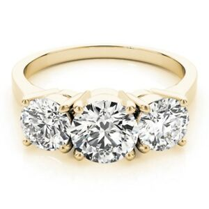 Fine Rings 1.35 Ct Round Cut Diamond Wedding Rings 14k Solid Yellow Gold Rings Size M N O P To Win A High Admiration