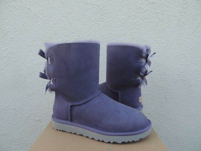 060b787dd2e UGG Bailey Bow II Purple Sage Color Suede Sheepskin BOOTS Size 9 US
