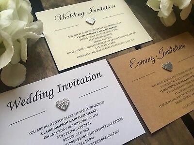 typewriter Evening Invitations Personalised Rustic Glitter heart Wedding