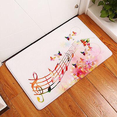 Flannel Entrance Rug Vintage Floral Musical Note Colorful Violin Mats Kitchen