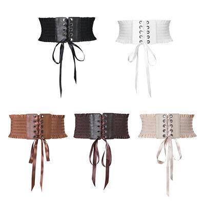 women lace up cinch belt elastic waist belt corset dress