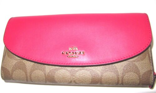 Coach Signature Slim Envelope New Wallet Bright Pink /& Khaki F54022 NWT $250