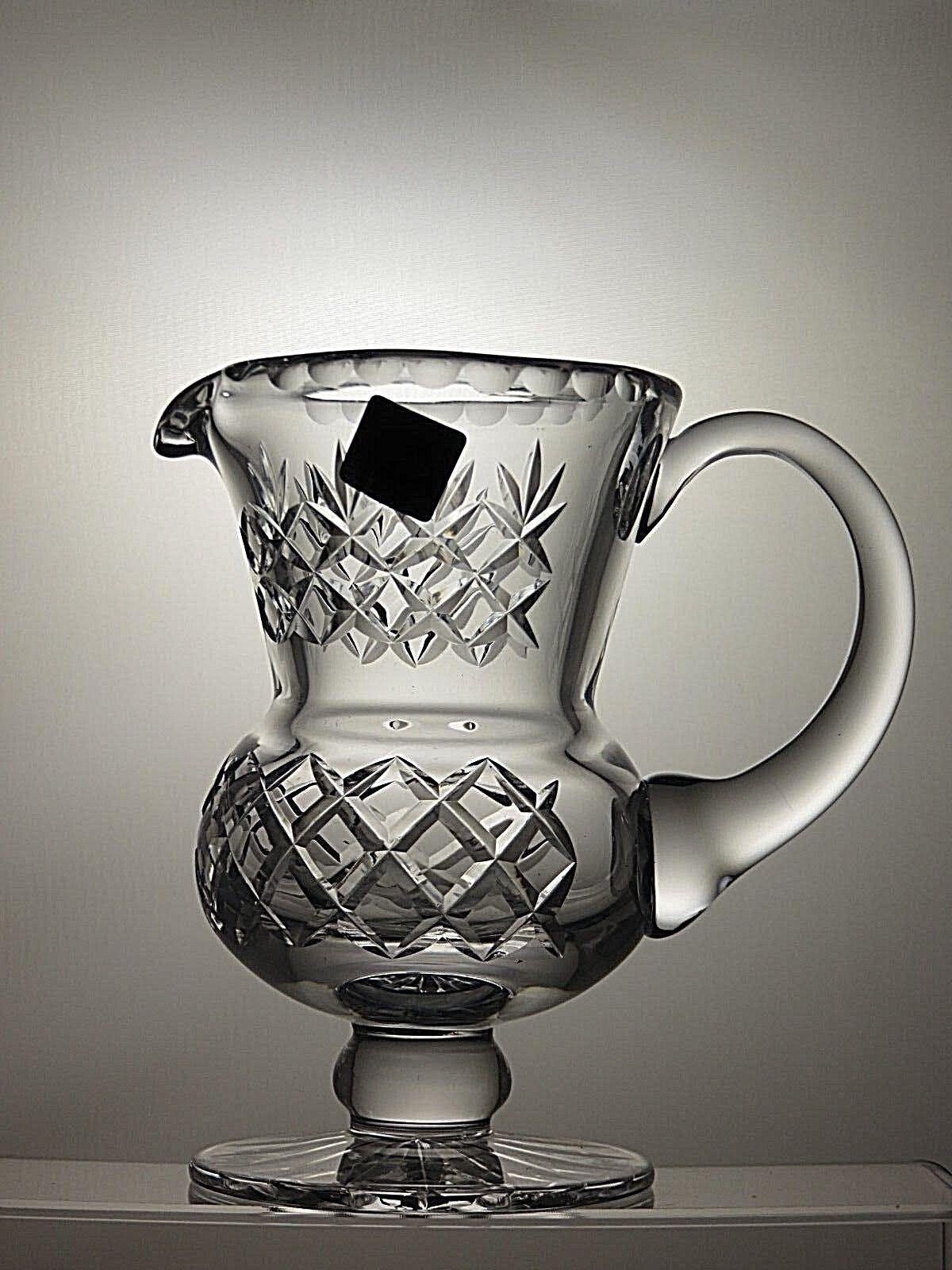 VINTAGE EDINBURGH CRYSTAL CUT GLASS JUG  PITCHER WITH HANDLE - 16 CM TALL