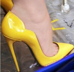 Womens-New-Sexy-Stilettos-High-Heels-Party-Patent-Leather-Pointed-Toe-Shoes-Size