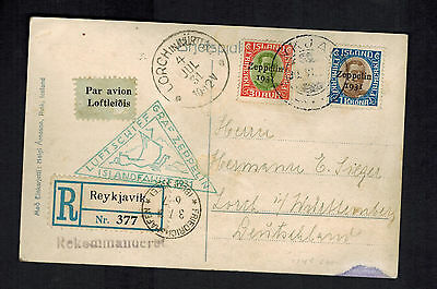 1931 Iceland Graf Zeppelin Postcard RPPC Cover to Germany LZ 127  # C9 & C10