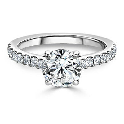 2.20 Ct Diamond Engagement Ring 14K Solid White Gold Wedding Rings Size L M N O