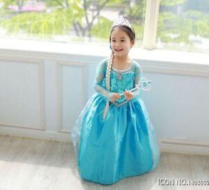 Details About Dress Frozen Elsa Girls Princess Children Dress Vestidos Baby Kids Custom