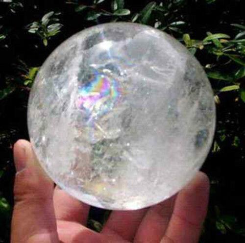 NATURAL RAINBOW CLEAR QUARTZ CRYSTAL SPHERE BALL HEALING GEMSTONE 100MM AAA